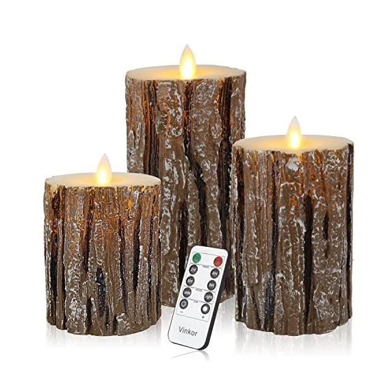 "Vinkor Flameless Candles Flickering Candles Decorative Battery Flameless Candle Classic Real Wax Pillar with Dancing LED Flame & 10-Key Remote Control 2/4/6/8 Hours Timers (Birch Effect) - ENERGY SAVING, POWERFUL LEDS: These impressive candles require 2 AA batteries per candle, that are expected to last for about 150 hours, while the lifetime of the led lamps is up to 50,000 hours. Unlike real candles, these flameless pillar candles are made to last; you buy them once, you have them forever! A COMPLETE SET OF FLAMELESS CANDLES: This value pack comes with 3 beautiful flameless pillar candles, 1 remote control with 10 different keys and a super easy to follow operating manual. Specifically, this set includes a 4"" pillar, a 5"" pillar, a 6"" pillar (each 3.2"" diameter) candle, all coming in an elegant ivory white color that matches any house. (Batteries are not included in this package.) HASSLE FREE OPERATION: For easy operation from the comfort of your sofa or bed, you will also receive one remote control with range 16.4ft that operates all candles. This 10-key remote control allows you to set timer on your pillar flameless candles per 2H, 4H, 6H, or 8H, while you can even time them to automatically turn on or off. With this super convenient remote you can enjoy the relaxation of your candles without worries! - living-room-decor, living-room, home-decor - 61XLSThkM0L. SS570  -"