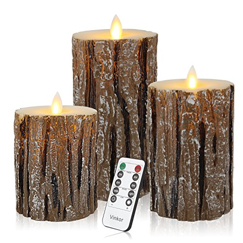 Vinkor Flameless Candles LED Candles Flickering Flameless Candles Bark Effect Moving Set of 3 Battery Candles Real Wax Pillar with 10-key Remote Control - 2/4/6/8 Hours Timer (Candle Melting Lamp)