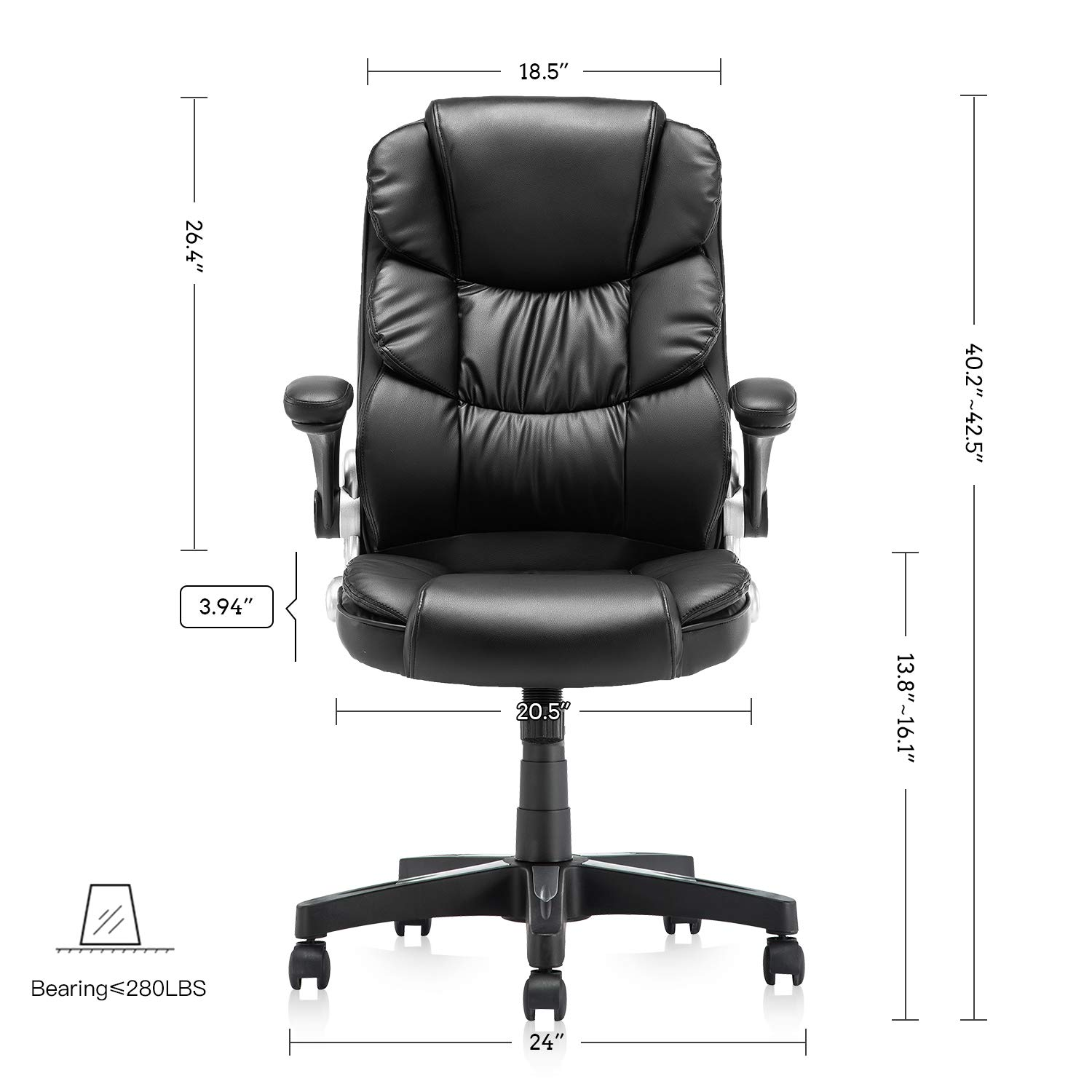 KERMS High Back Office Chair PU Leather Executive Desk Chair with Padded Armrests,Adjustable Ergonomic Swivel Task Chair with Lumbar Support Black
