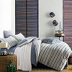 Japanese minimalist set of cotton washed cotton four seasons Hat solid color bed sheets plain striped three piece sets,Full,F