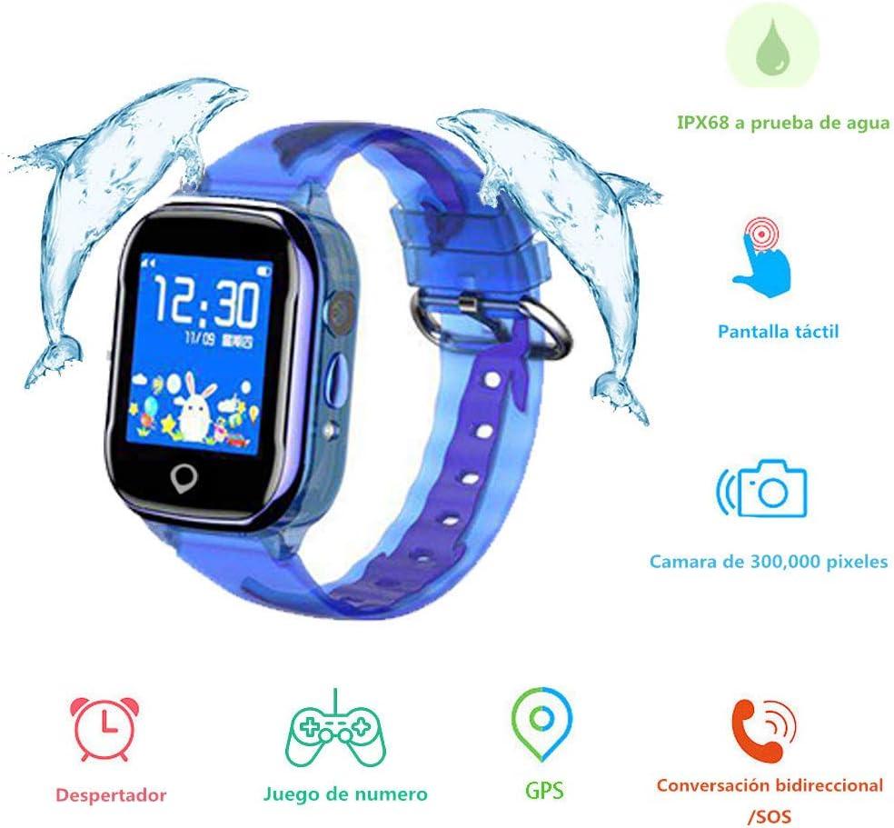 Smartwatch Niños, MUSSON Reloj Inteligente Niños, IPX68 Impermeable GPS Rastreador SIM Phone 1.44 Inch LCD Pantalla Táctil Móvil, Llamada SOS Cámara Despertador Anti-Lost CE50
