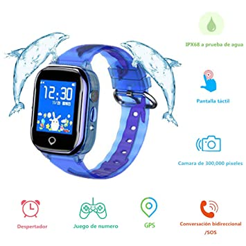 Reloj Inteligente Niños, MUSSON SmartWatch IPX68 Impermeable GPS Rastreador SIM Phone 1.44 Inch LCD Pantalla Táctil Móvil, Llamada SOS Cámara ...