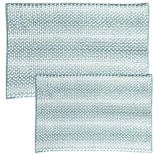 Sweet Home Collection Bathroom Rugs Set 2 Piece Butter Chenille Noodle Soft Luxurious Absorbent Non Slip Latex Back Microfiber Bath Mat, Zig Zag Teal (Rugs And Teal Brown Bathroom)
