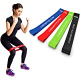 Resistance Loop Exercise Bands - Exercise Bands for Legs and Butt - Stretch Bands - Workout Bands - Weight Lifting and Training EBook and Online Workout Videos, Set of 4, for Men and Women
