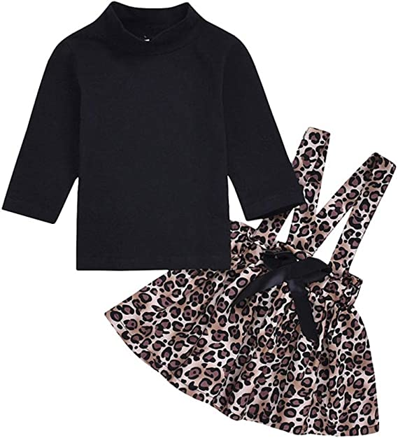 Hongyuangl Bebé Niña Camiseta de Manga Larga y Falda de leopardo 2 ...