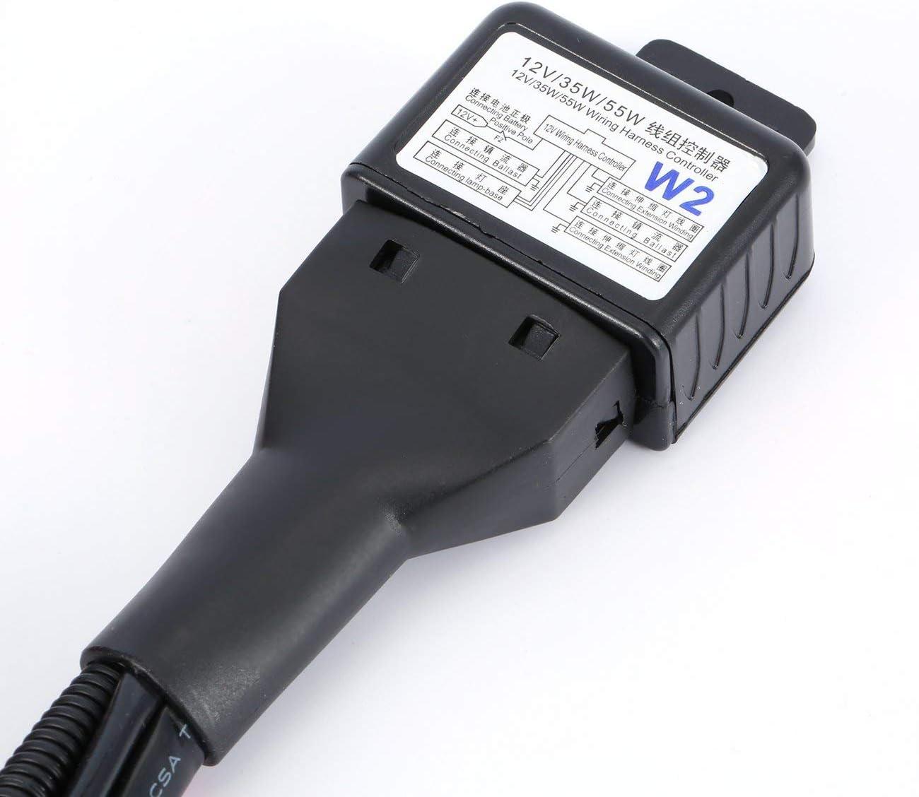 JIO-T Cablaggio universale per fari allo xeno da 35 W 12 V Hi//Lo HID Rel/è batteria Rel/è filo Controller Cablaggio cavo per proiettore auto nero
