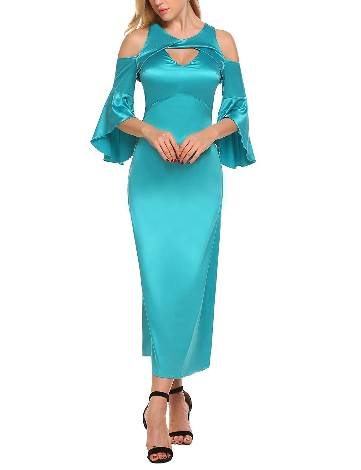 3fd6b2d552f6 Elegant and sexy style, vintage flare bell sleeve, 3/4 sleeve and keyhole  design can easily catch people's eyes. Scoop Neck, 3/4 flare Sleeve; Open  shoulder ...