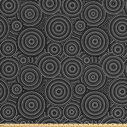 Ambesonne Black and White Fabric by The Yard, Concentric Dotted Circles Inspired from Australian Aborginial Art, Decorative Fabric for Upholstery and Home Accents, 1 Yard, Grey Black White