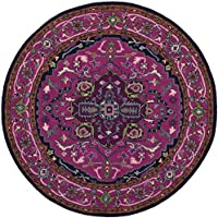 Safavieh Bellagio Collection BLG541C Pink and Navy Bohemian Medallion Premium Wool Round Area Rug (5 Diameter)