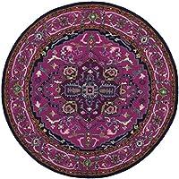 Safavieh Bellagio Collection BLG541C Pink and Navy Bohemian Medallion Premium Wool Round Area Rug (5 Diameter)