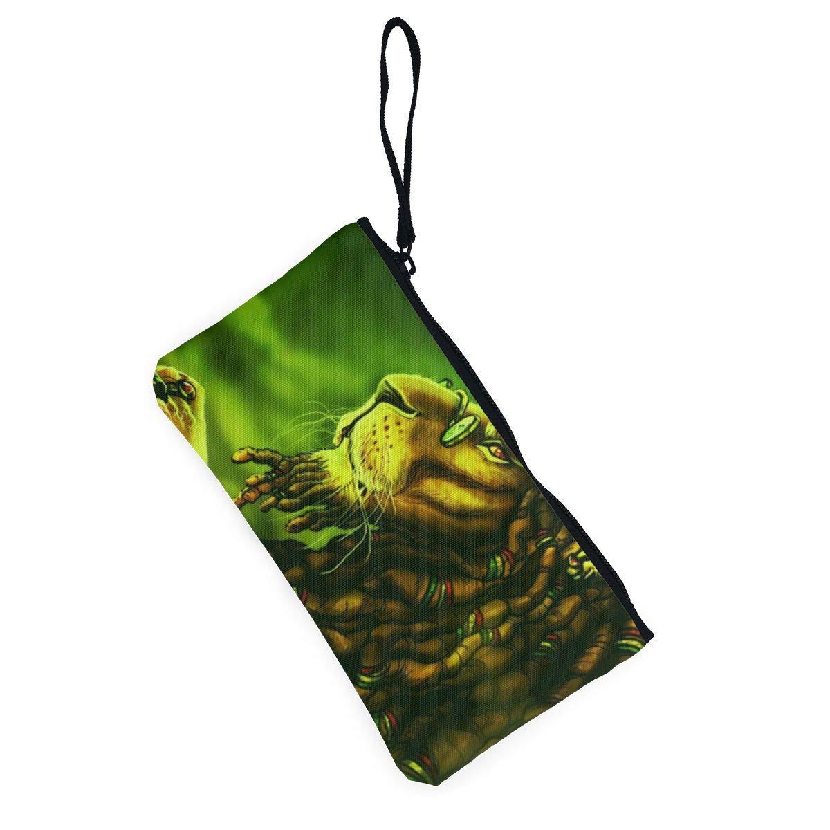 Canvas Cash Coin Purse,Glasses Lion Print Make Up Bag Zipper Small Purse Wallets