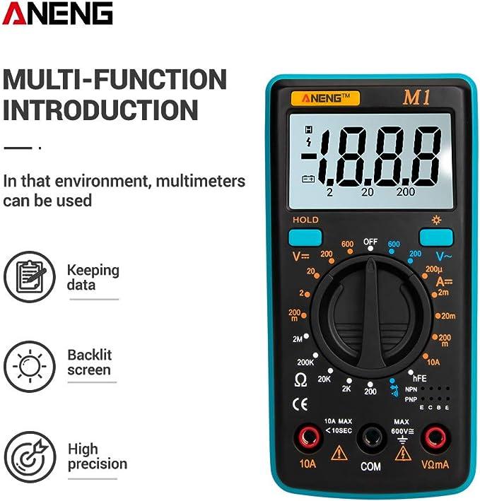 Leepesx ANENG M1 Multimetro digitale palmare Retroilluminazione LCD Alta precisione Tensione AC//DC Resistenza corrente Transistor Tester di continuit/à Protezione da sovraccarico Arancione