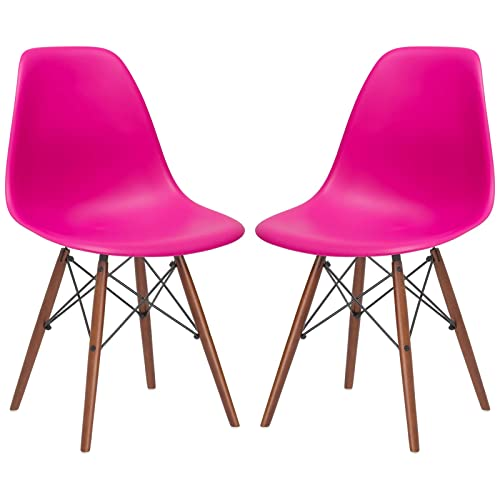 Poly and Bark Vortex Modern Mid-Century Side Chair with Wooden Walnut Legs for Kitchen, Living Room and Dining Room, Fuchsia Set of 2