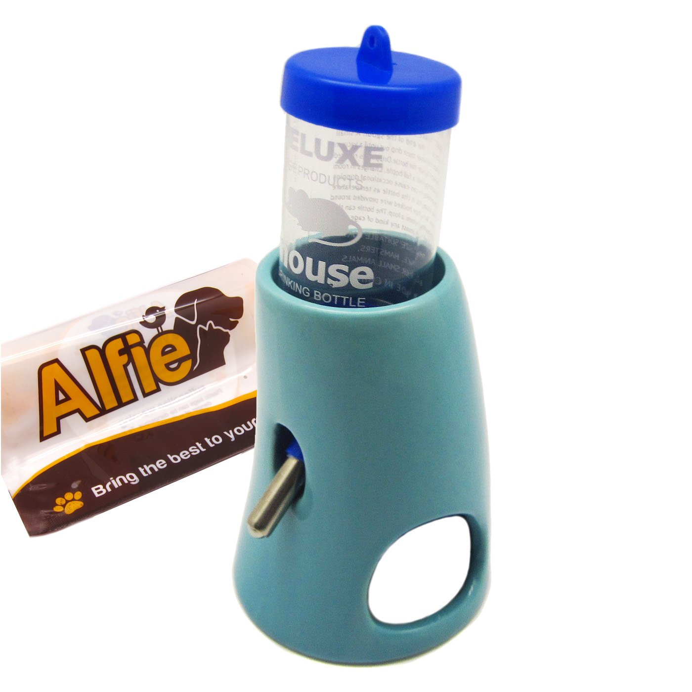 Alfie Pet by Petoga Couture - 2-in-1 Water Bottle with Hut for Small Animals like Dwarf Hamster and Mouse - Color Blue