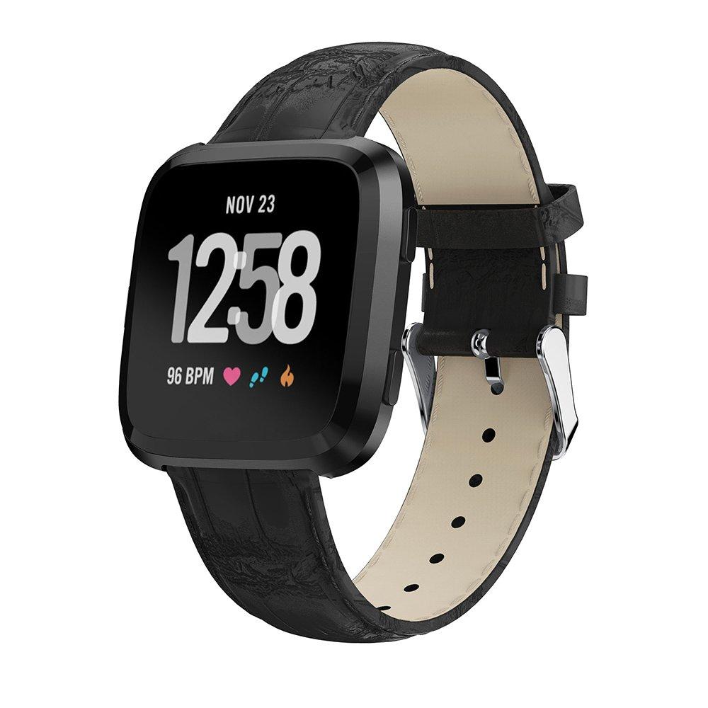 For Fitbit Versa Watchバンド本革リストバンド交換用アクセサリーFitnessストラップブレスレットfor Fitbit Versa Smart Watch B07CWW53Z8 ブラック