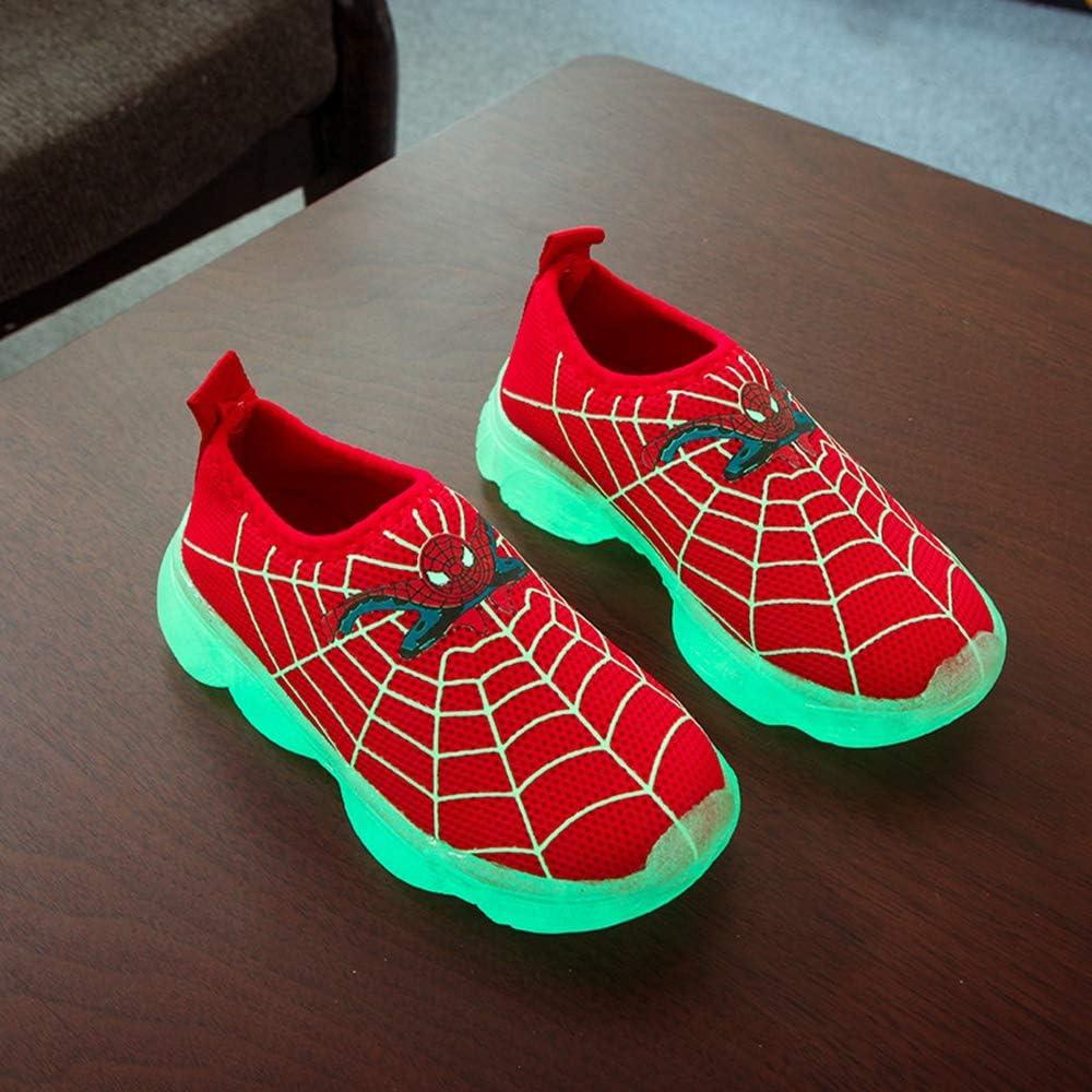 KINGLEN Kid Spiderman Luminous Running Shoes,Toddler Baby Girls Boys Slip on Casual Children Walking Sneakers
