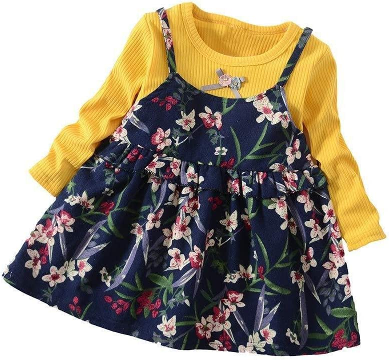 Toddler Baby Girls Long Sleeve Floral Flower Print Dress Outfits Clothes Huojingli Baby Clothes Set