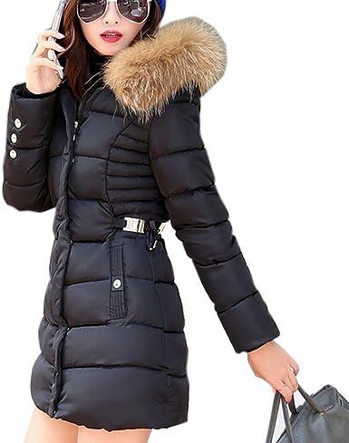 Ghope mid long Manteau Automne ou Hiver Femme Jacket Elegant Long Veste à Capuche Fourrure Fausse Chaud Doudoune Coat Blouson Parka Veston Hoodie