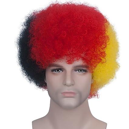 Unisex corto afro rizado pelucas para el fútbol de fútbol rugby ventiladores vestido de fantasía y