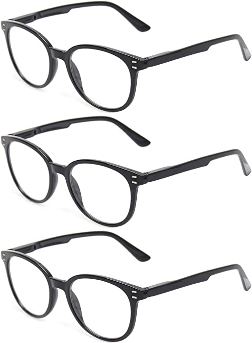 85ca8b0bb8 Reading Glasses 3 Pack Retro Round Frame Spring Hinge Readers Men and Women  Plastic Glasses for
