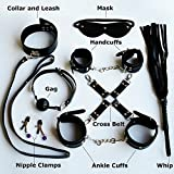 Clearance Sale 8 Pcs Leather Fetish Adult Sex Love Game Toy Kit for Couples Women Bondage Restraint Set: Handcuff Whip Collar Nipple Clamps Gag