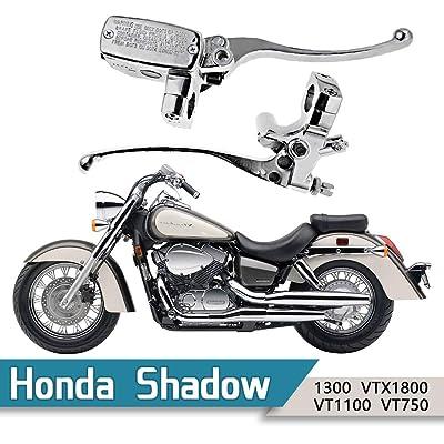 "1"" Handlebar 14mm Bore Motorcycle Left Clutch Lever & Right Hydraulic Brake Master Cylinder Lever Fits Honda, Kawasaki, Suzuki, Yamaha Chrome: Automotive"