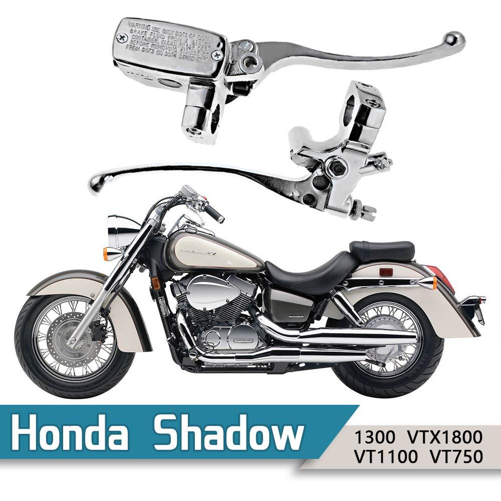 1'' Handlebar 14mm Bore Motorcycle Left Clutch Lever & Right Hydraulic Brake Master Cylinder Lever Fits Honda, Kawasaki, Suzuki, Yamaha Chrome by Anxingo