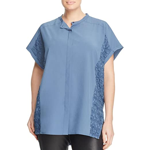 eb996f62 Amazon.com: Love Scarlett Womens Plus Button-Down Lace Inset Tunic ...