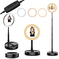 "10"" Selfie Ring Light with Stand and Phone Holder,Foldable Makeup Light 19.7"" - 66"" Stretchable Portable Selfie Desk…"