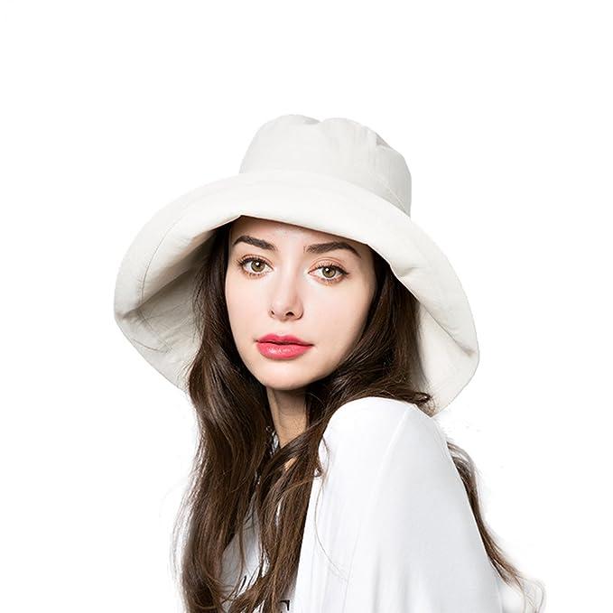 Sun Bucket Hat Women Summer Floppy Cotton Sun Hats Packable Beach Caps SPF  50+ UV 7512886b70e