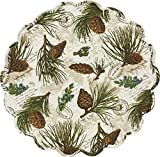 """Unique & Custom {17'' Inch} Single Pack of Round """"Non-Slip Grip Texture"""" Large Reversible Table Placemat Made of Washable 100% Cotton w/ Forest Pine Cone Nature Design [Colorful White, Tan & Green]"""