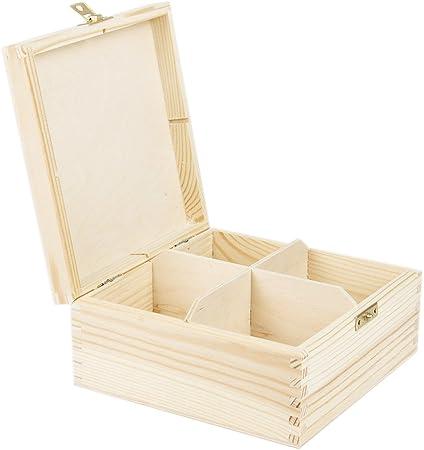 Caja para té Bote para té (4 compartimentos – Caja de té con candado Caja de madera natural 16,5 x 16,5 x 8 cm: Amazon.es: Hogar