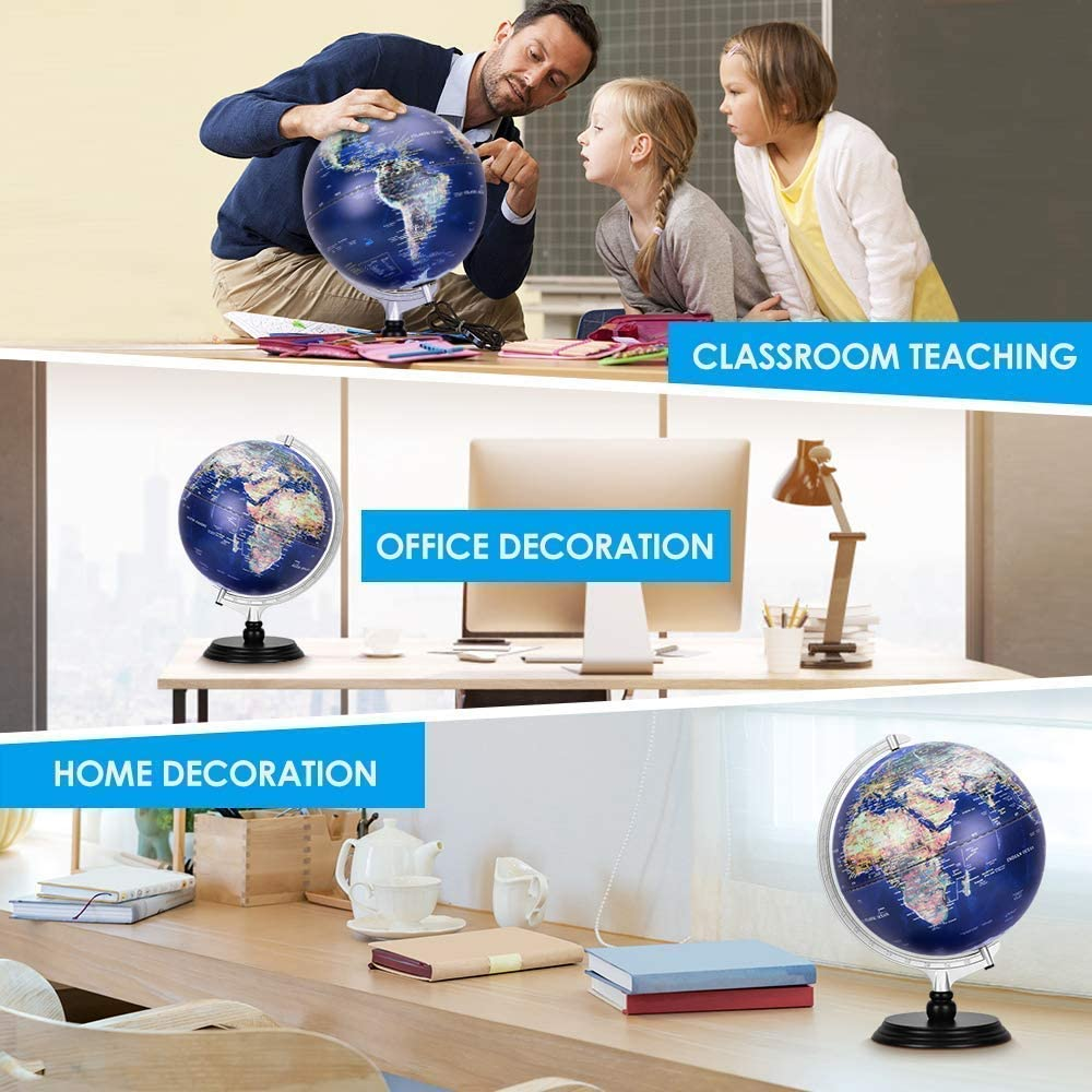FMOGE World Globe,Raised Relief Topographical Globe,Built-in LED Light for Night View for Learning Education Teaching Demo Home Office Desk Decoration Creative Gift