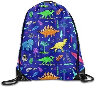 DHNKW Drawstring Backpack Gym Bag Travel Backpack, Funny Cute Dinosaurs, Girls Drawstring Backpack for Teen Kids