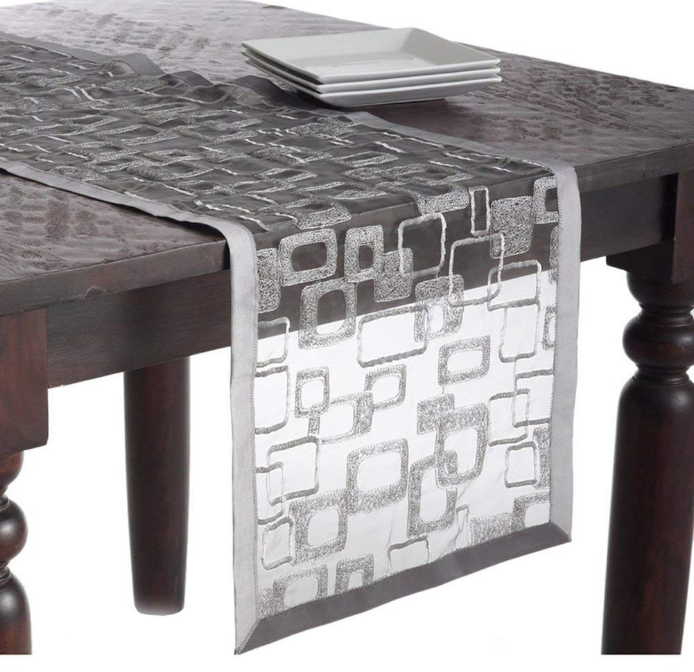 "Fennco Styles Mondrian Embroidered Geometric Design Rectangular Table Runner (Silver, 16""x54"")"
