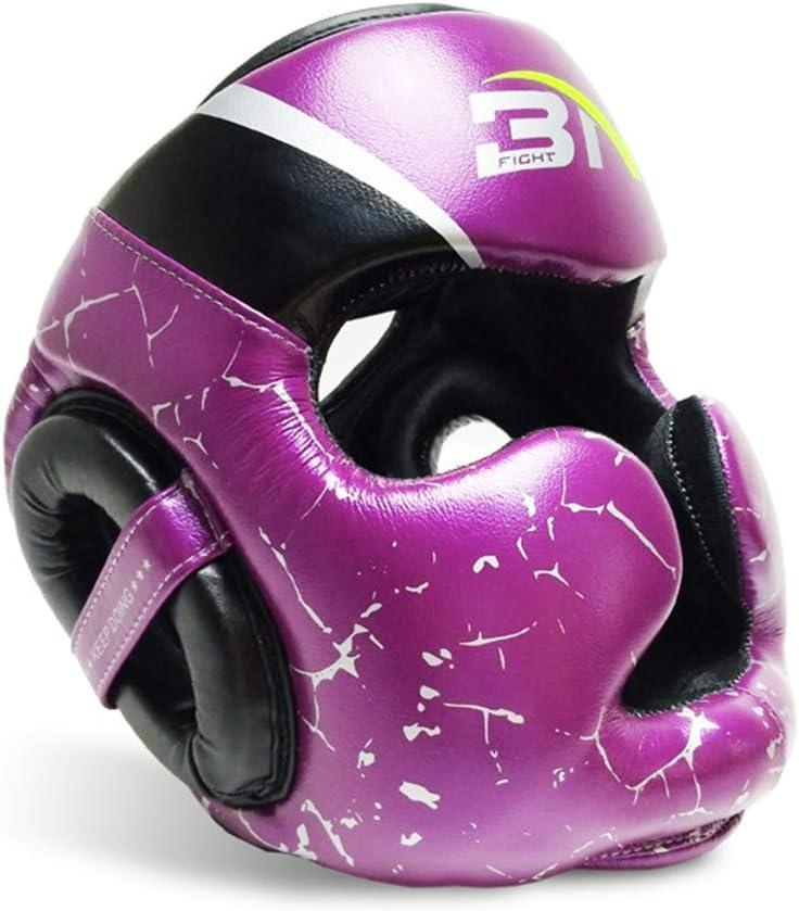 ボクシングテコンドーヘルメットレザープロテクターヘッドギアスパーリングギア大人三田ファイティング 紫の