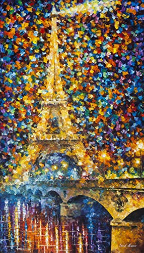 Eiffel Tower Wall Art France Oil Painting On Canvas by Leonid Afremov - Paris of My Heart. Size: 24 Frame ()