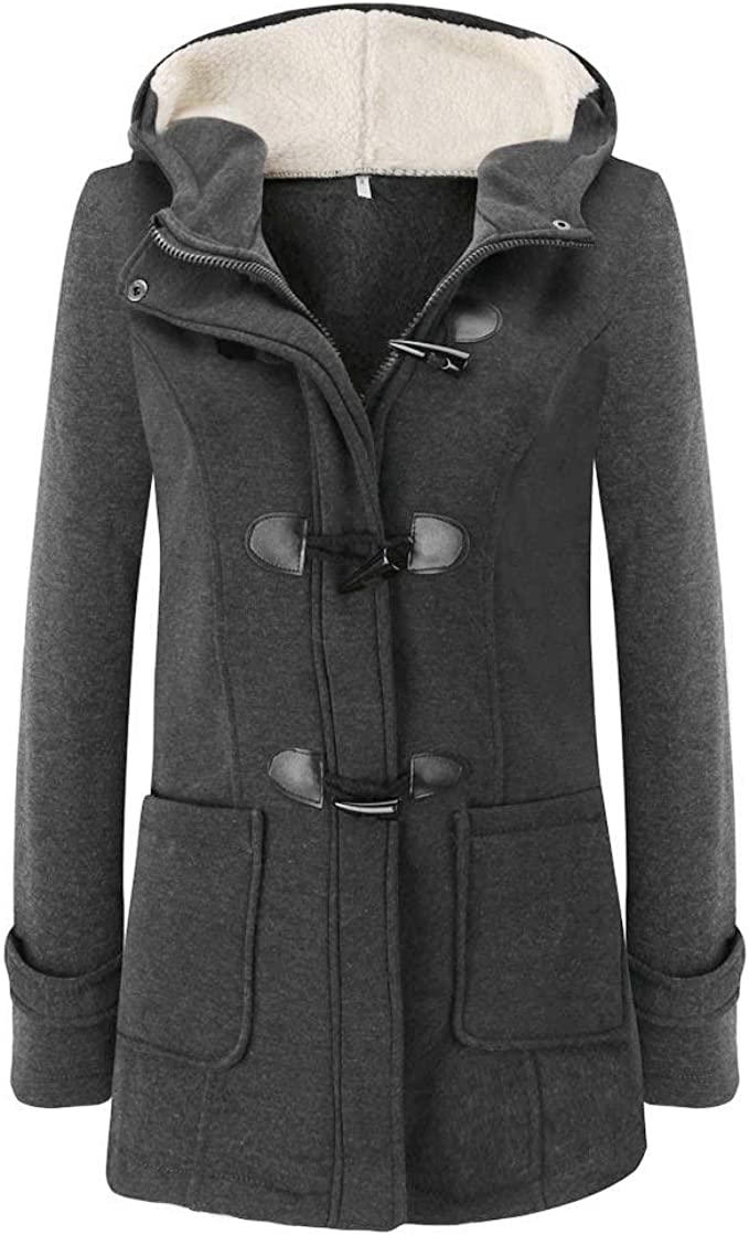 aihihe Winter Warm Coats for Women Plus Size Hooded Jackets Parka Solid Thicken Jackets Long Cotton Pea Coat