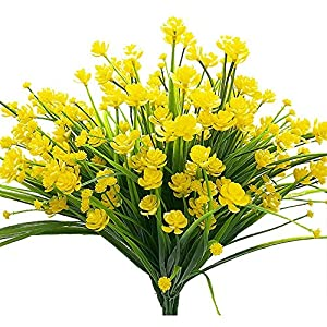 4pcs Artificial Yellow Daffodils Flowers Fake Shrubs UV Resistant Faux Plants Faux Plastic Bushes Indoor Outdoor Home Office Garden Patio Yard Table Wedding Farmhouse Centerpieces Pot Decor (Yellow) 14