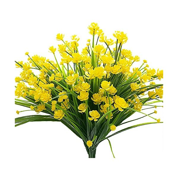 4pcs Artificial Yellow Daffodils Flowers Fake Shrubs UV Resistant Faux Plants Faux Plastic Bushes Indoor Outdoor Home Office Garden Patio Yard Table Wedding Farmhouse Centerpieces Pot Decor (Yellow)