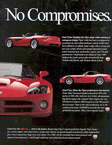 2003 Dodge Viper Roadster Sales Brochure