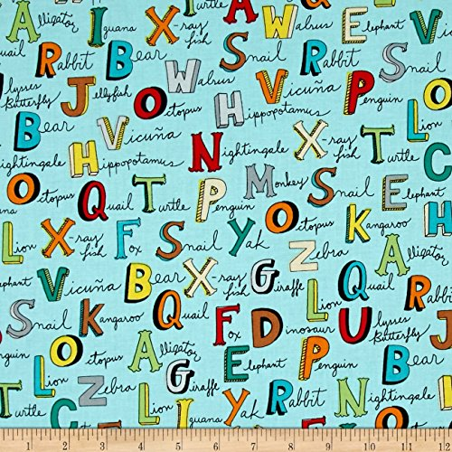 Animal ABC's Alphabet Words Turquoise Fabric By The Yard
