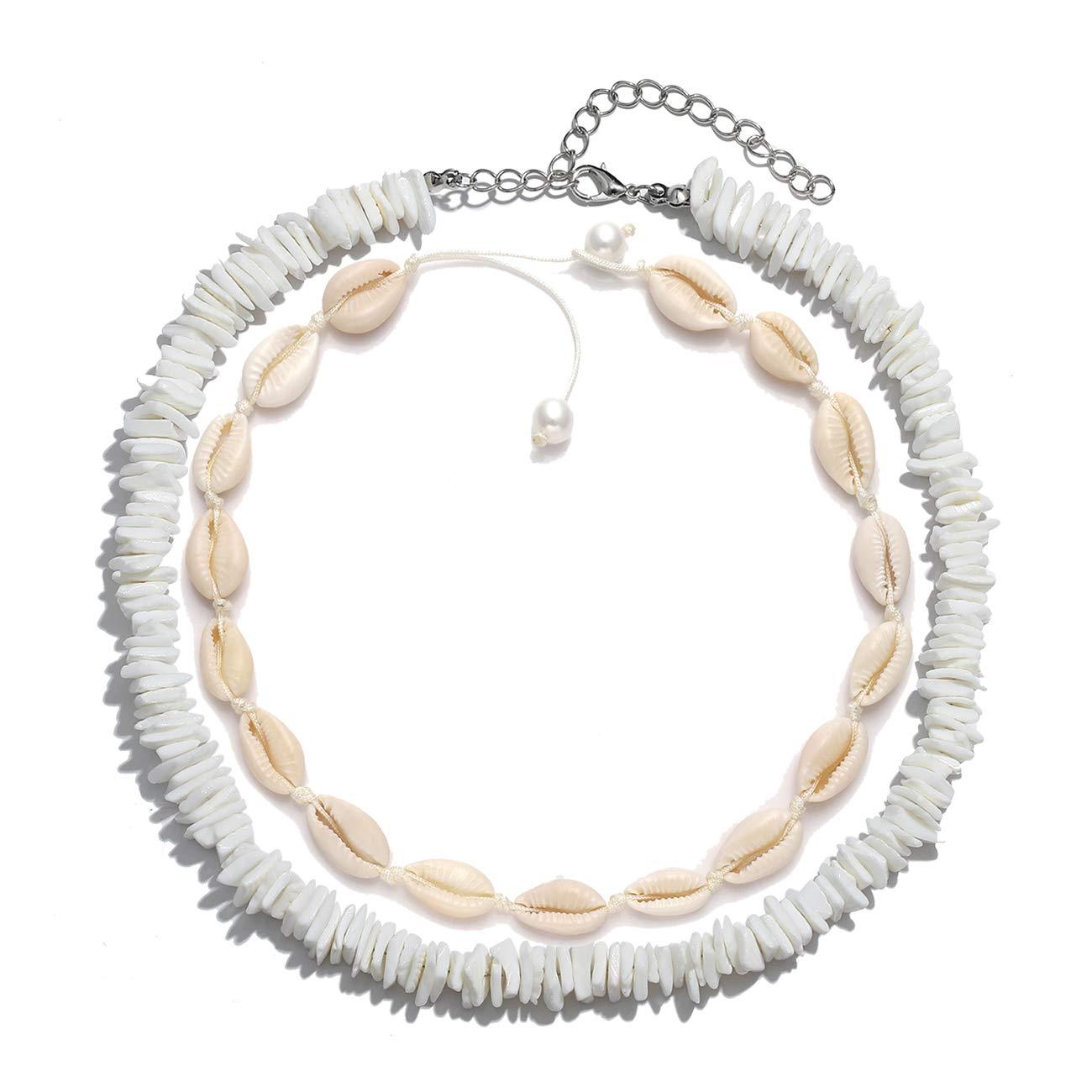 HSWE Shell Choker Necklace for Women Seashell Necklace Statement Adjustable Puka Shell Pendant Cord Bib Collar Necklace Bracelets Set Hawaiian Jewelry (Shell Necklace Set#1)