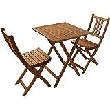 Balkongruppe 1 aus Akazie 3tlg Blossom, Lager, Tisch und Stühle mit Klappfunktion, natürliche Maserung, kombinierbar, teilzerlegt, Lieferung mit Paketdienst