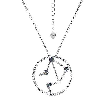 4f7aeb78525 Suplight Collier Femme Argent 925 Plaqué Or Blanc Pendentif Signe du  Zodiaque Balance avec Pierre Colorée
