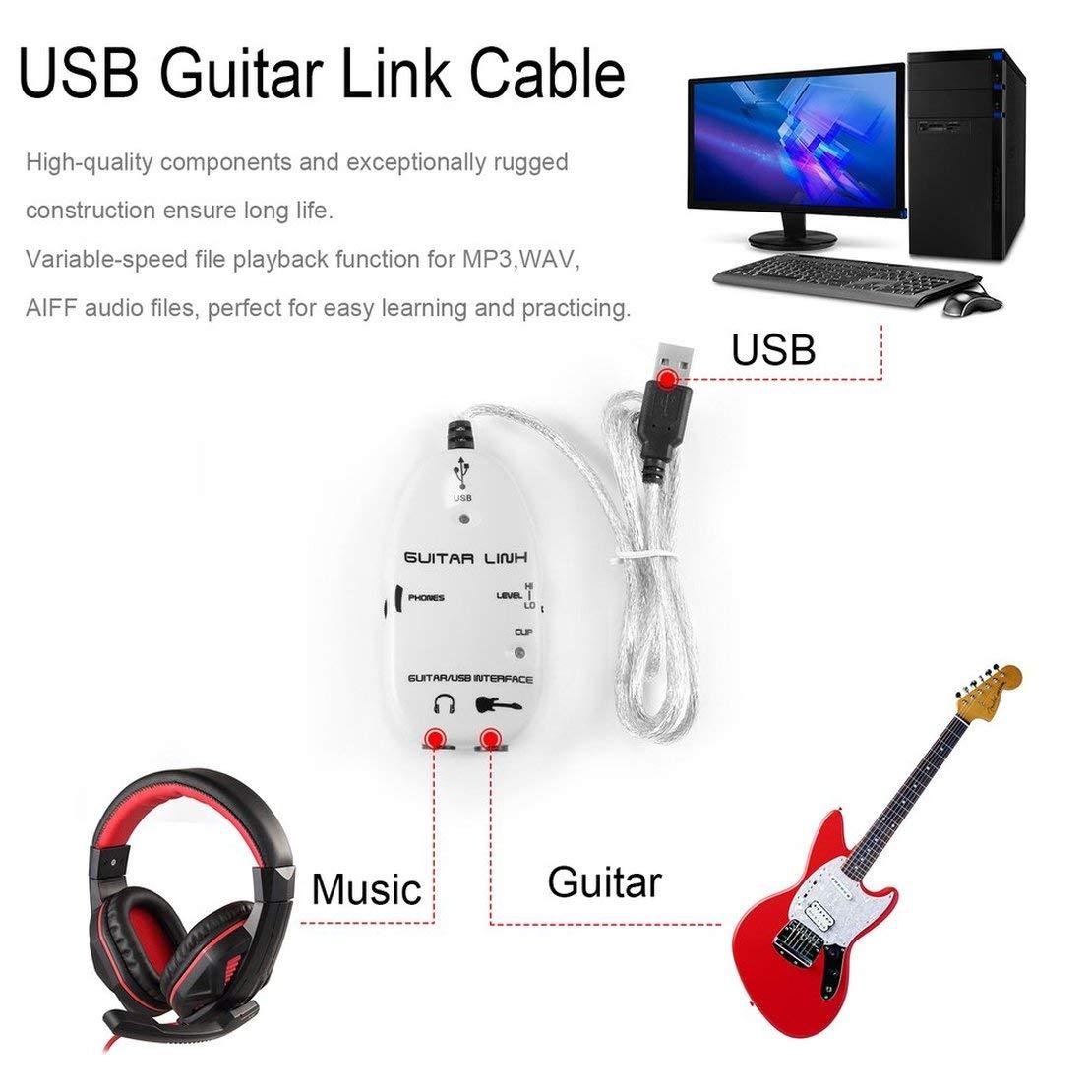 Sanzhileg Guitarra eléctrica Baja a Interfaz USB Cable de Enlace Adaptador de grabadora de Audio a computadora para PC/para Mac Adaptador de grabación de ...
