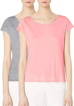 Camiseta Manga Corta Mujer Cuello Redondo Pijama Top Gris Rosa Sólido Suelto Casual Gris Rosa XXL: Amazon.es: Ropa y accesorios