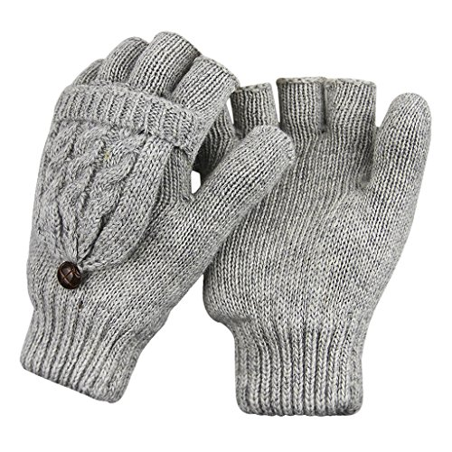 Women Girls Gloves Half Finger Texting Gloves Winter Warm Snow Cycling Running Knit Lady Smartphone Thermal Insulation Mittens Gloves with Mitten Cover Xmas Gifts (Grey)