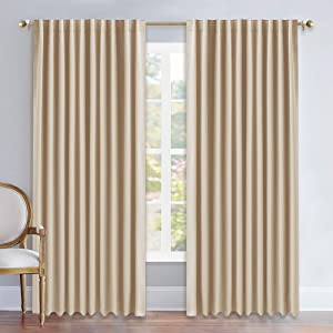 NICETOWN Window Treatment Elegant Curtains - (Biscotti Beige Color) 70 Width X 84, 1 Pair, Curtains and Drapes for Bedroom