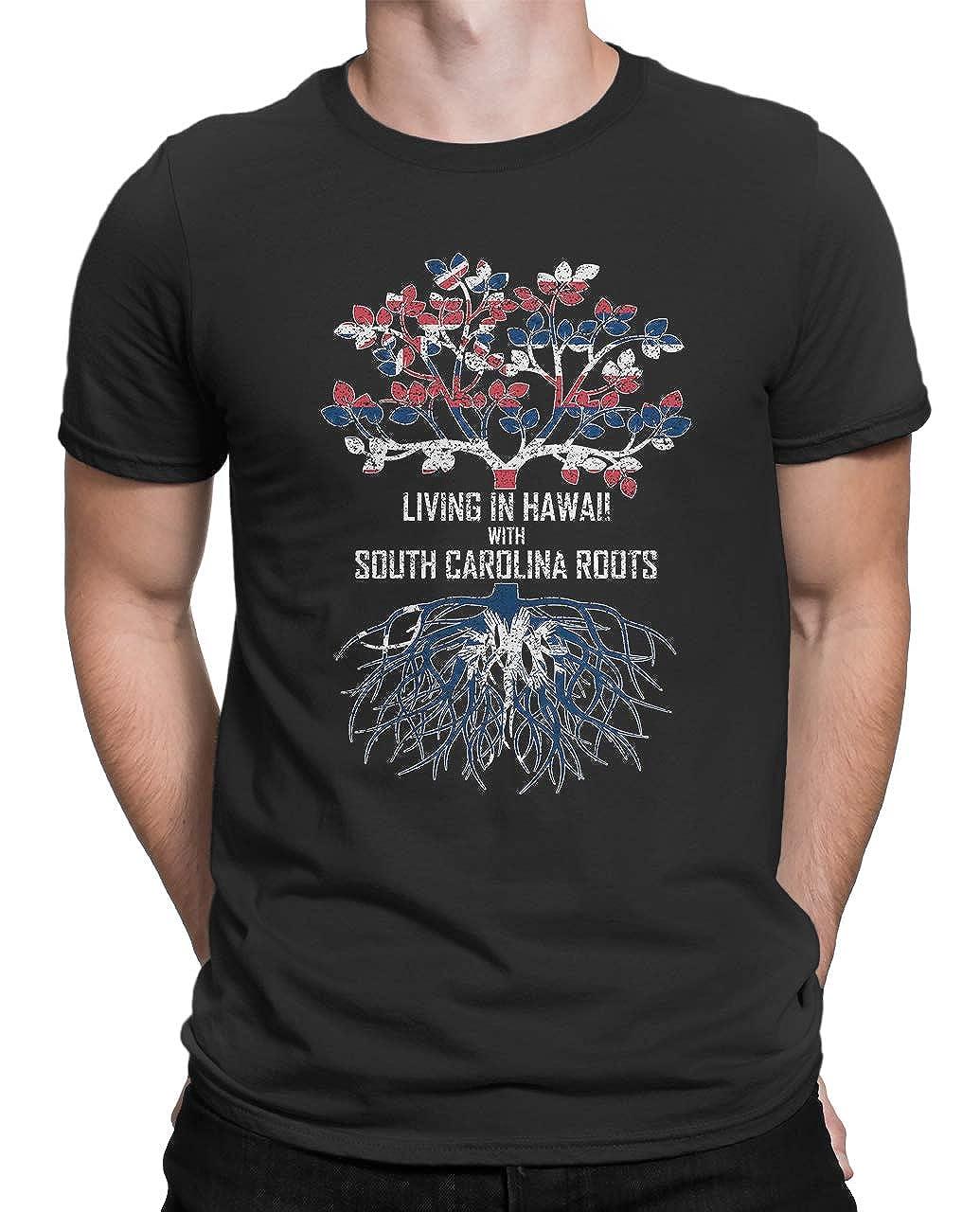 Tenacitee Mens Living in Hawaii South Carolina Roots T-Shirt